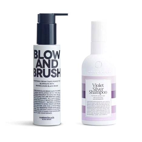Pretty.fin myydyimpiin kuuluvan hiusbrändi Watercloudsin suosituimmat tuotteet ovat Blow And Brush -kosteuttava muotoiluvoide föönaukseen, 19,90 €, ja Violet Silver Shampoo -hopeashampoo, 16,90 €.
