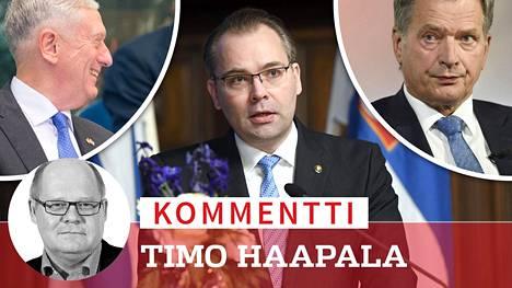 Yhdysvaltain puolustusministeri James Mattis (vas.) sai puolustusministeri Jussi Niinistöltä (sin) kutsun sotaharjoitukseen, josta presidentti Sauli Niinistö ei tiennyt.