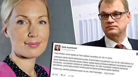 Ylen toimittaja Salla Vuorikoski julkaisi pääministeri Juha Sipilän kanssa vaihdetut viestit.