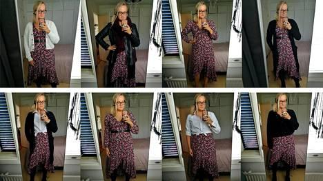Taija Juvonen on pukeutumisneuvoja. Hän näyttää, kuinka mekkotyyli taipuu.