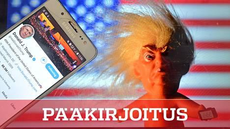 Donald Trumpin hahmo ja maine eivät katoa sillä, että hänelle laitetaan porttikieltoja yksittäisiin viestipalveluihin. Kuvassa myös Trumpia esittävä nukke.