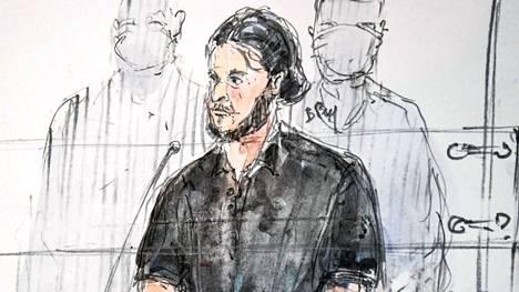 Oikeuspiirtäjän näkemys pääsyytetty Salah Abdeslamista 8. syyskuuta 2021.