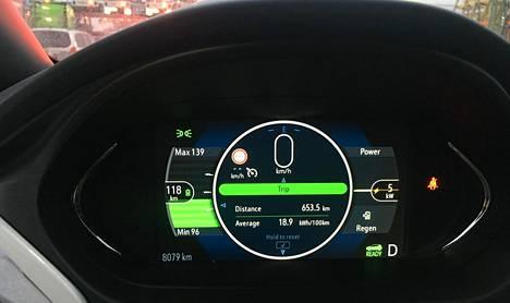 Opel Ampera-e:n mittaristo kertoo yli 650 kilometrin ajorupeamasta: 18,9 kWh/100 km.