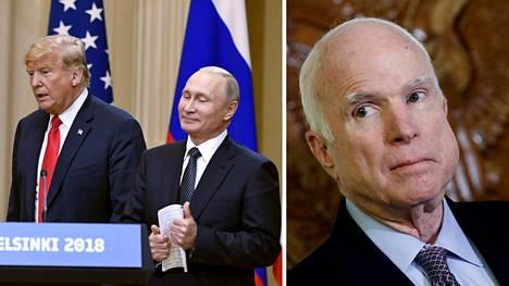 Arizonan republikaanisenaattori John McCainin (oik.) mukaan Trump epäonnistui oman maansa puolustamisessa Helsingissä.
