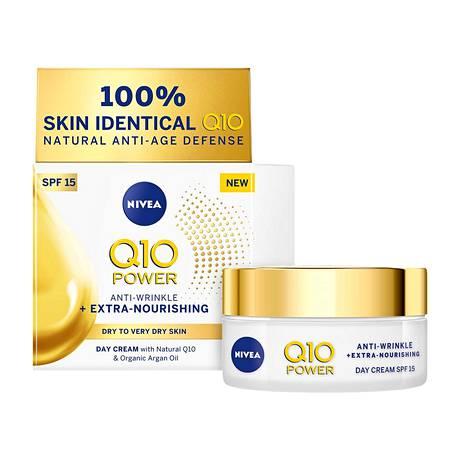 Nivea Q10 Power Anti-Wrinkle + Extra Nourishing Day Cream -päivävoide, 14,90 €, mm. tavarataloista.