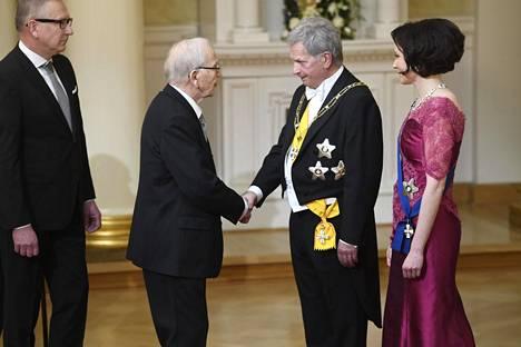 Matti Rautiainen tapasi presidenttiparin perjantaina Linnan juhlissa. Saattajana toimi oma Jaakko-poika.