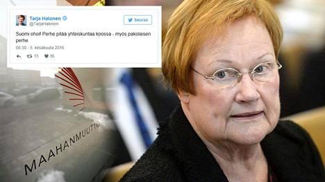 Presidentti Tarja Halosen voidaan tulkita ottaneen kantaa riihimäkeläisperheen tapaukseen Twitterissä.