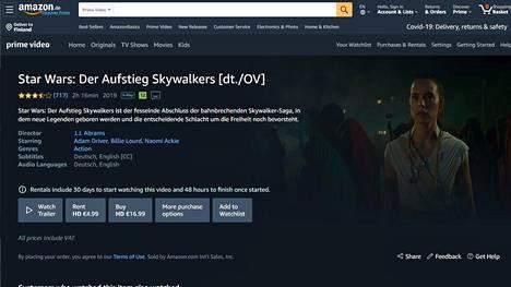 Amazon käyttää myös Euroopassa osta-sanaa elokuvamyynnissään, vaikka yhtiö pidättää oikeuden sisällön katoamiseen asiakkaalta. Kuvakaappaus amazon.de:stä.