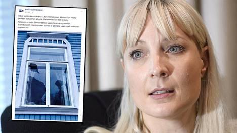 Perussuomalaisten presidenttiehdokas Laura Huhtasaari 7. marraskuuta 2017 Helsingissä STT:n presidenttiehdokashaastattelussa.