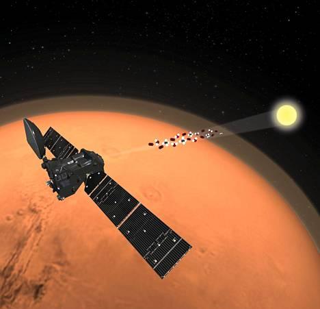 Havainnekuva ESAn Exomars-hankkeeseen kuuluvasta Trace Gas Orbiter -luotaimesta, joka etsii metaania Marsin kaasukehästä. Metaanin esiintyminen voisi juoruta mahdollisesta orgaanisesta toiminnasta Marsissa.