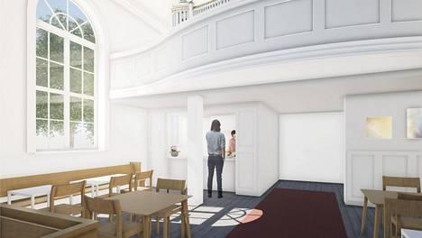 Vanhan kirkon salin kulmaan tuleva kahvio havainnekuvassa.