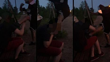 Kuvakaappauksia videolta, jossa pääsyytetty pahoinpitelee toista henkilöä Tampereella.