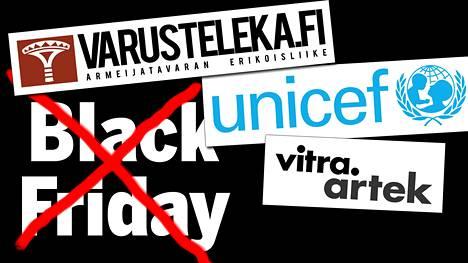 Esimerkiksi Varusteleka, Unicef, Artek ja Virta. ovat lähteneet mukaan Balck Fridayn vastakamppanjoihin.