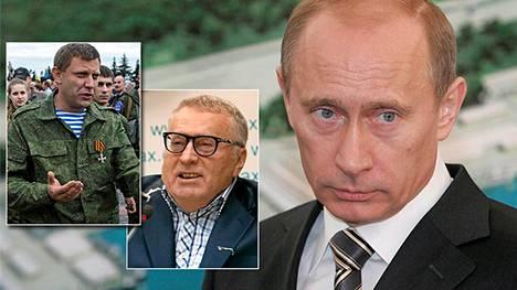 EU:n asettamat uudet pakotteet koskevat muun muassa Donetskin kansantasavallan pääministeriksi -tituleerattua Aleksandr Zakhartshenkoa (vas.) ja  Vladimir Zhirinovskia (kesk.), joka on duuman jäsen. Pakotelistalla on joukko Putinin lähipiiriin kuuluvia.