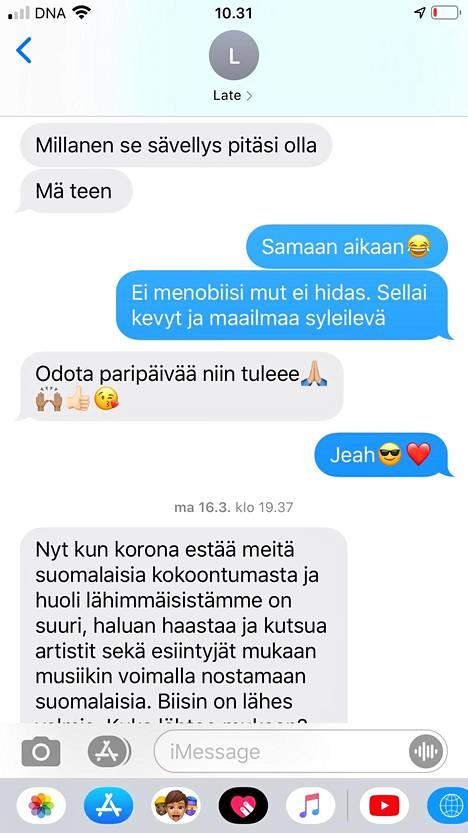 Lauri Tähkän ja Timo Kiiskisen välistä viestittelyä kappaleesta.