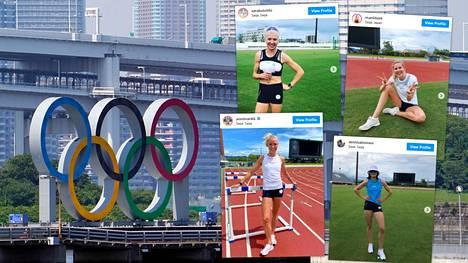 Muun muassa iloinen naisyleisurheilijoiden nelikko Sara Kuivisto, Kristiina Mäkelä, Annimari Korte ja Senni Salminen treenaa jo Japanissa.
