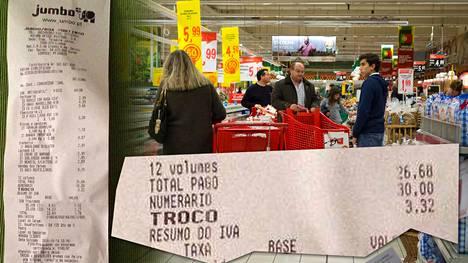 Eeva-Liisa Karvonen osti Jumbo-ketjun ruokakaupasta muun muassa paketin gluteenittomia muffineja (3 euroa), banaaneja (60 senttiä kilo), verigreippeja (euron kilo) sekä laktoositonta Benecol-rasvalevitettä (2,60 euroa).