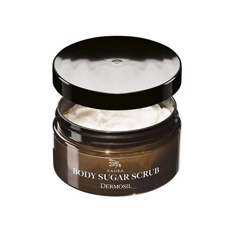 Dermosilin Kaura-sarjan vartalokuorinta kuorii ihoa hellästi sokerin avulla. Kaura ja manteliöljy hoitavat ja pehmentävät ihoa kuin huomaamatta kuorinnan yhteydessä, 9 € / 250 g.