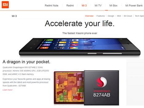 Xiaomin MI3 ei häviä kilpailijoille suoritustehossa.