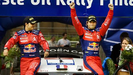 Sébastien Loeb (oik.) ja Daniel Elena tottuivat voittamaan. Yhteistyö loppui riitaisasti. Arkistokuva Suomen MM-rallista vuodelta 2008.