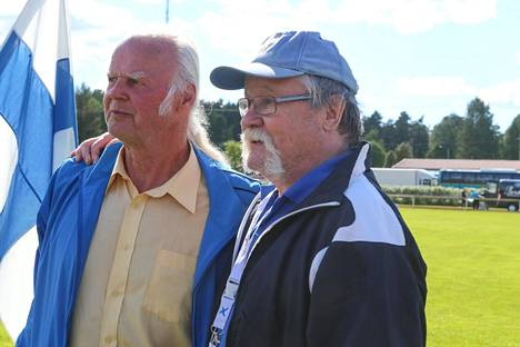 Janis Lusis oli tuttu vieras Jorma Kinnusen luona Äänekoskella ja myös Pihtiputaan keihäskarnevaaleilla. Kuva vuodelta 2015.