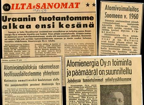 Metsäteollisuuden perustama Atomienergia Oy perusti 1950-60- lukujen taitteessa uraanikaivoksen Enoon Pohjois-Karjalan. Se tuotti uraania Ruotsiin, mutta tuotanto loppui kannattamattomana jo muutaman vuoden jälkeen.