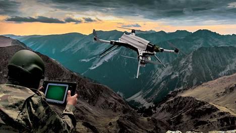 Valmistajan promootiokuva Kargu-lentolaitteesta, joka voi toimia monissa tehtävissä yksin tai parviaseena.