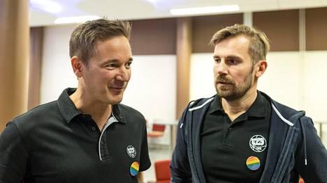 TPS:n pääomistajat Mikko Paananen (vas.) ja Mikko Kodisoja toivovat jatkossa samanlaisia keskustelutilaisuuksia.