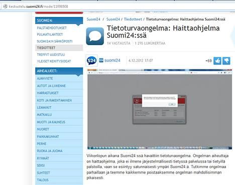 Suomi24 varoitti kävijöitään sivustonkautta levinneestä haittaohjelmasta tiedotteella.