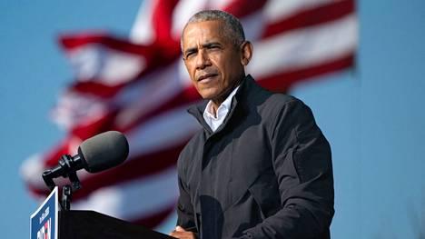 Yhdysvaltojen entinen preidentti Barack Obama puhui Atlantassa 2. marraskuuta.