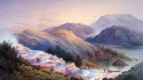 John Barr Clarke Hoyten maalaus kuvaa kvartsialtaita ennen kuin ne hautautuivat tulivuoren purkauksessa vuonna 1886.