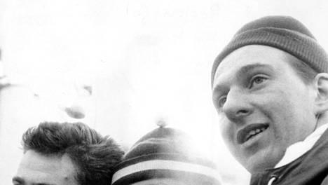 Vuoden 1958 MM-kisojen mitalistit Helmut Recknagel (vas.), Juhani Kärkinen (kesk.) ja Ensio Hyytiä.