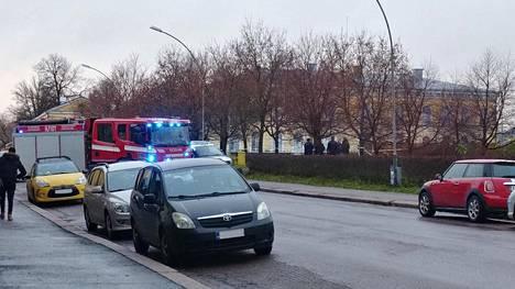 Poliisi eristi puiston, jossa puukotus tapahtui.