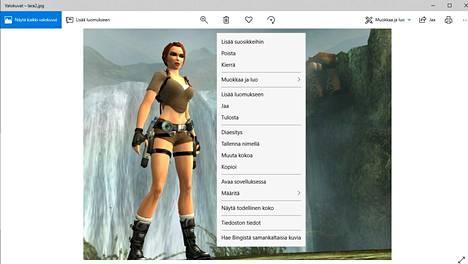 Klikkaamalla tietokoneella olevaa kuvaa Valokuvat-sovelluksessa saat mahdollisuuden tehdä kuvan perusteella hakuja netissä. Hakutoiminto on valikossa alimpana.