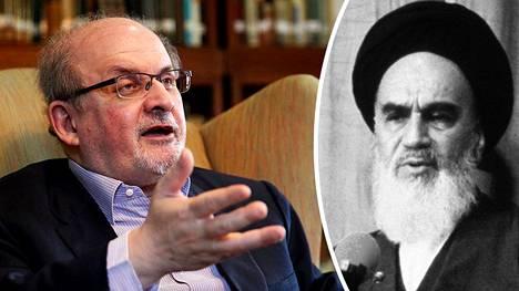 Ajatollah Ruhollah Khomeini (kuva oikealla) langetti Salman Rushdielle fatwan eli kuolemantuomion vuonna 1989.