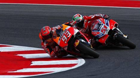 MotoGP:n mestaruustaistelu käy kuumana – Marquez nousi tasapisteisiin Dovizioson kanssa