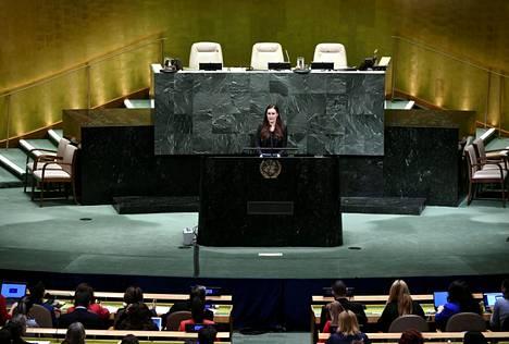 Sanna Marin puhui YK:ssa Naistenpäivän tapahtumassa New Yorkissa 6. maaliskuuta.