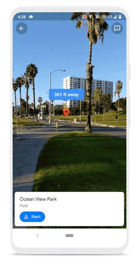 Live view yhdistää katunäkymää ja navigointiohjeita.