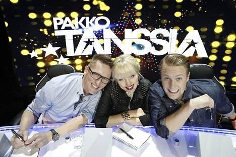 Pakko tanssia -ohjelman tuomarit Sami Saikkonen, Saana Akiola ja Ätä-nimellä breikannut Dennis Nylund.