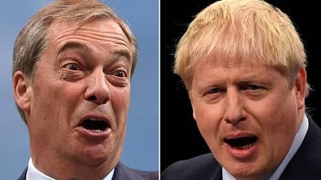 Brexit-puolueen johtaja Nigel Farage (vas.) ja pääministeri Boris Johnson ovat eri linjoilla brexitin ehdoista.