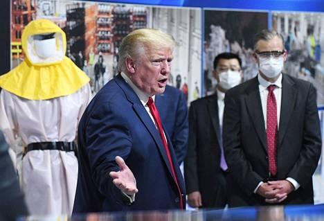 Yhdysvaltain presidentti Donald Trump vieraili Fordin tehtaalla Michiganissa 21. toukokuuta 2020.