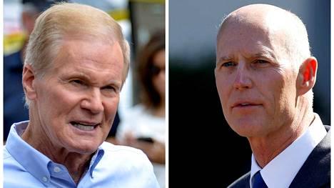 Republikaanien Rick Scott (kuvassa oikealla) voitti demokraattien Bill Nelsonin senaattorikisassa.