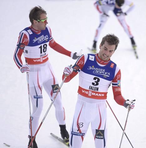 Tomas ja Petter Northug kilpaladulla Falunissa vuonna 2015.