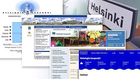 """Helsingin verkkosivuilla on ollut monenlaista ilmettä viimeisen parinkymmenen vuoden ajan. Nykysivuilla on käytetty parin vuoden ajan Helsingin """"puhekuplalta"""" näyttävää nykylogoa."""