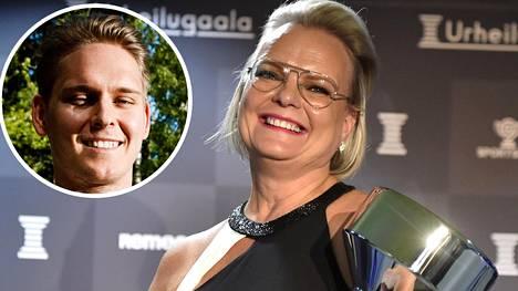 Christa Grönlund kävi noutamassa poikansa Kevin Lankisen palkinnon.