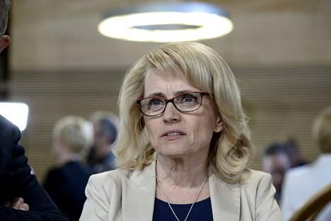 Kristillisdemokraattien puheenjohtaja Päivi Räsänen eduskuntavaalien tulosillassa Pikkuparlamentissa Helsingissä.