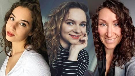 Mona Rajala, Sanna Soinio ja Mariia Kotila ovat opetelleet curly girl -metodin.