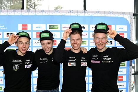Ilkka Herola (vas.), Eero Hirvonen, Arttu Mäkiaho ja Leevi Mutru ovat Suomen yhdistetyn uuden nousun kulmakiviä.