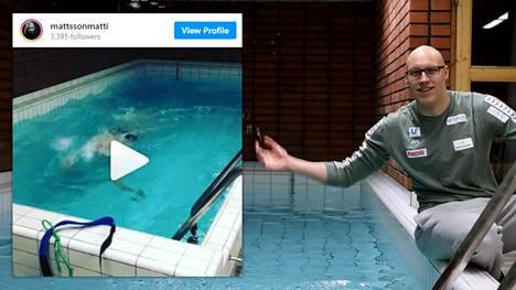 Matti Mattsson harjoitteli maaliskuussa 2020 porilaisen kerrostalon saunatilan minikokoisessa uima-altaassa.