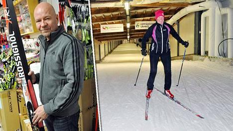 Ilkka Alppi uskoo karvasuksien sukseeseen. Terja Moisio kävi testaamassa putkessa hiihtämistä.